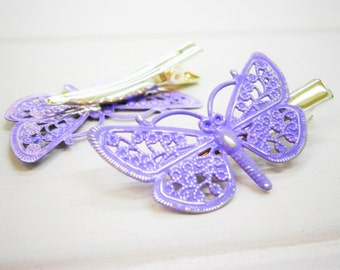 Lilac/Pale Purple Hand Painted Patina Silver Plated Butterfly Filigree Shabby Chic Alligator Hair Clip/Boho Hair Clip/Rustic Butterfly Clip.