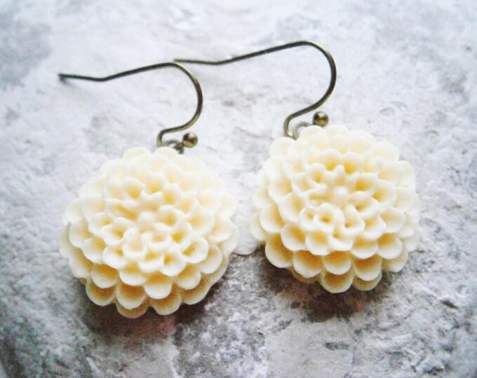 Cream Resin 19mm Chrysanthemum on Antique Bronze French Earring Hook/Dangle Earrings