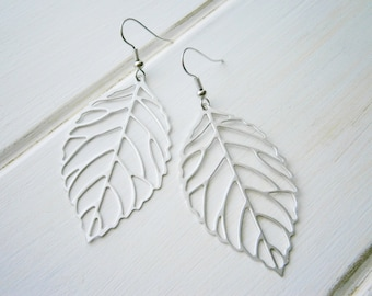 Matt Rhodium Plated Filigree Leaf Pendants on Rhodium Plated Spring Ball French Earwires/ Dangle Earrings.