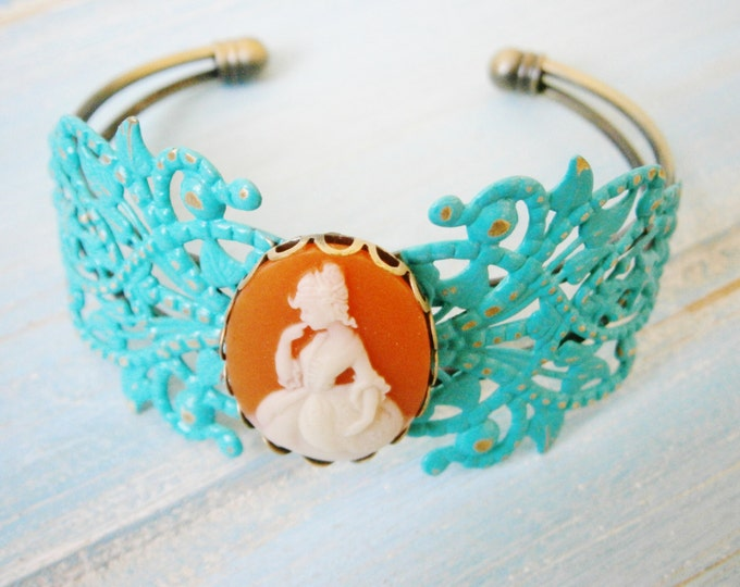 Turquoise Patina Floral Antique Bronze Filigree Cuff Bracelet with Carnelia & White Victorian Lady Cameo/Cameo Cuff/Bridesmaid Bracelet
