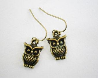 Small Antique Bronze Owl Charm On Antique Bronze Brass French Earring Hooks/Dangle Earrings
