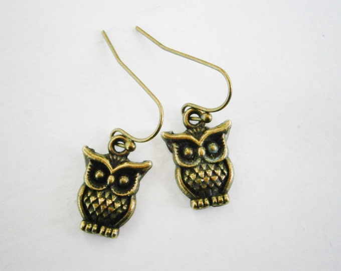 Small Antique Bronze Owl Charm On Antique Bronze Brass French Earring Hooks/Dangle Earrings