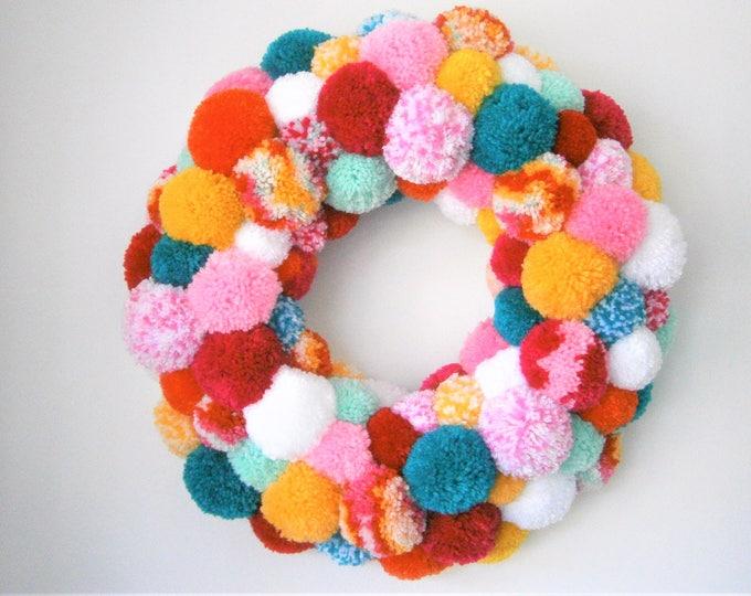 Large Multi Coloured Yarn Pom Pom Wreath/Party Decor/Christmas Wreath/Home Decor/Modern Wreath/Bohemian Home Decor/Colourful Wreath/Wreath