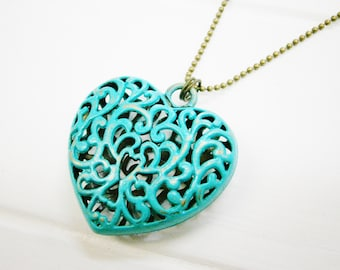 Verdigris/Turquoise Patina Filigree Large Heart on Antique Bronze Ball Chain/Boho Necklace/Long Necklace/Patina Necklace/Heart Necklace.