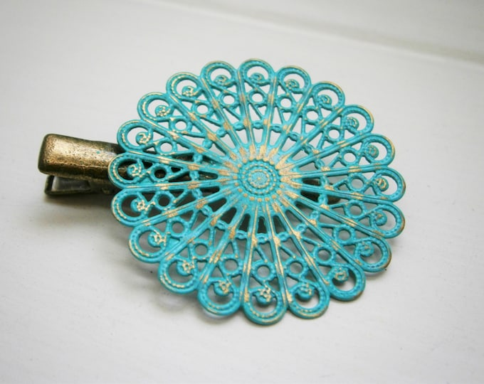 Verdigris/Turquoise Hand Painted Patina Antique Bronze Round Filigree Shabby Chic Alligator Hair Clip/Boho Hair Clip/Rustic Hair Clip.