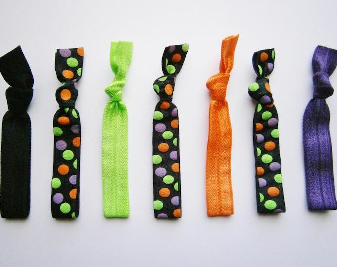 Halloween - Set of 7 Solid Color and Patterned Hair Ties by Crimson Rose Cottage/Boho Elastic Hair Tie/Boho Soft Bracelet