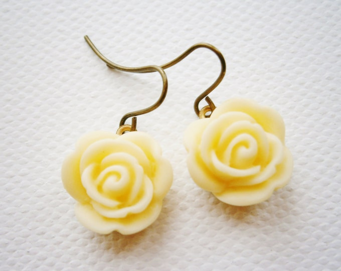 Cream 13mm Resin Rose set on Antique Brass Base and Earring Hook/Dangle Earrings/Bridesmaid Gifts