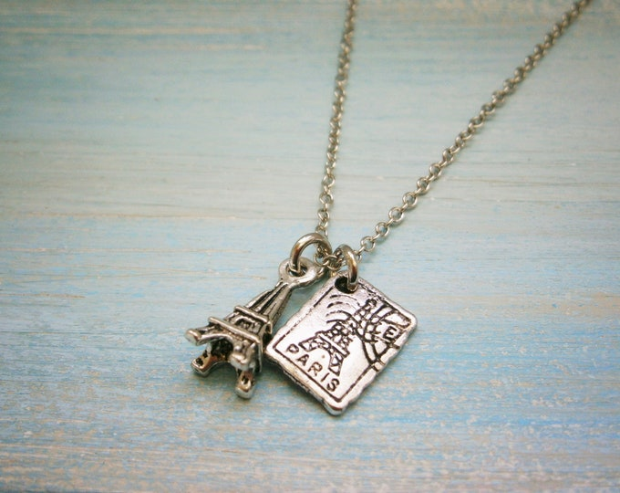 Antique Silver Mini Eiffel Tower & Mini Paris Stamp Charm Necklace/Boho Necklace/Paris Necklace/Dainty Necklace/Eiffel Tower Necklace