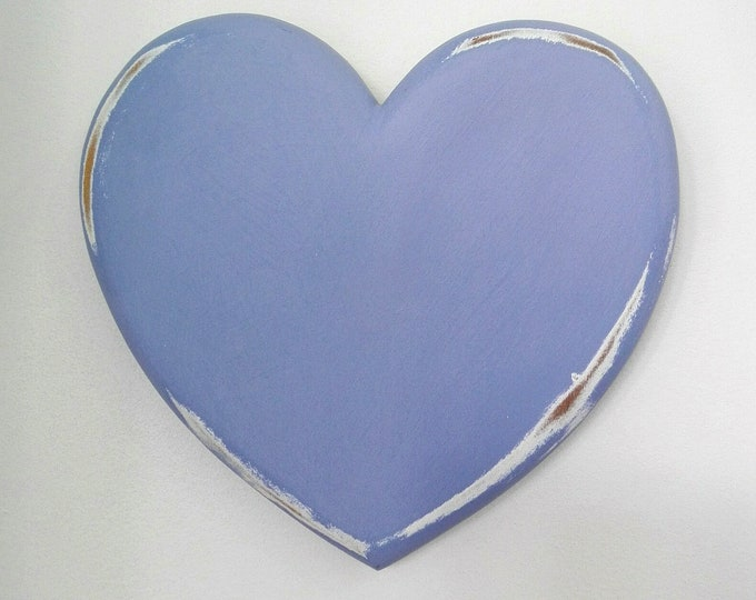 Shabby Chic/Rustic - Love/Adore - Wall Art/Chambray with touches of White Painted Heart with a distressed Shabby Chic/Rustic finish.