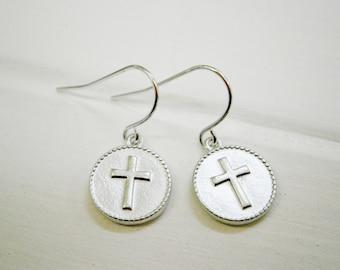 Matt Rhodium Plated Cross Disc Pendant On Rhodium Plated French Earring Hooks/Dangle Earrings/Cross Earrings/Silver Earrings/Disc Earrings