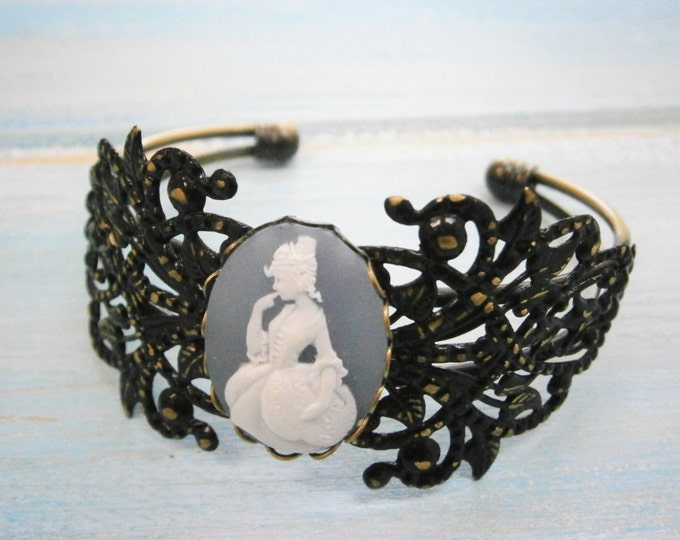 Black Patina Floral/Leaf Antique Bronze Filigree Cuff Bracelet with Greyish Blue & White Victorian Lady Cameo/Cameo Cuff/Bridesmaid Bracelet