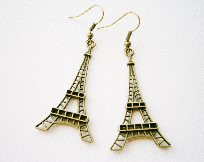 Antique Bronze Eiffel Tower Pendant Dangle Earrings/Boho Earrings/Steampunk Earrings/Paris Earrings