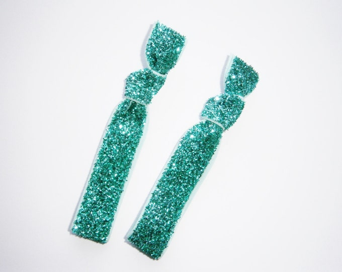 Set of 2 Glitter Hair Tie Package by Crimson Rose Cottage - Turquoise Glitter Hair Ties that Double as Bracelets