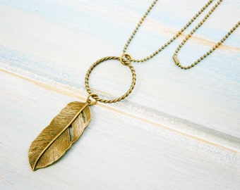 Antique Bronze Necklace with Large Twisted Circle Pendant and Feather Charm/Boho Necklace/Nature Necklace/Bohemian Jewelry/Long Necklace