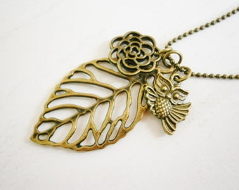 Antique Bronze Filigree Leaf Necklace with Filigree Flower and Small Owl Charms/Boho Necklace.