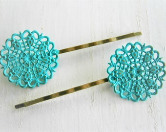Verdigris/Turquoise Filigree Patina Antique Bronze Bobby Pins Set of Two/Hair Clips/Bohemian Hair Clips/Shabby Chic Hair Clips/Bobby Pins