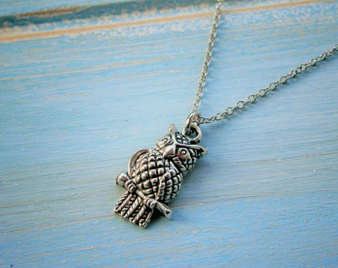 Antique Silver Owl Charm Necklace/Boho Necklace/Nature Necklace/Woodland Jewellery/Owl Jewelry/Nature Jewelry/Boho Jewelry/Bridesmaid Gift.