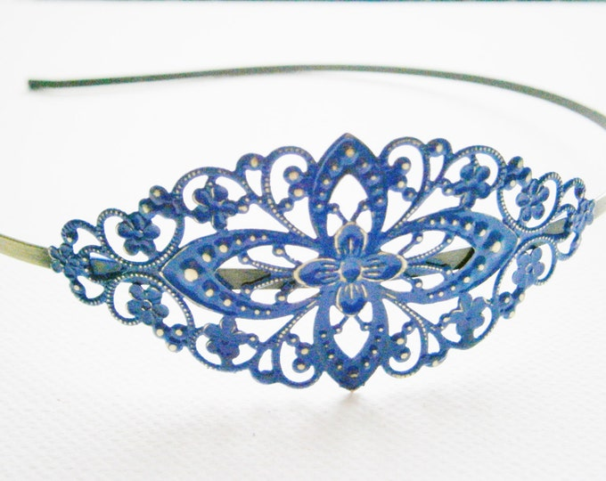 Lapis Blue Patina Filigree Headband - Hair Accessory, Bridesmaid Gift, Family Pictures, Stocking Stuffer