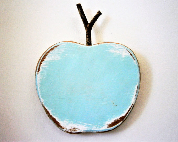 Robin Egg Blue Painted Wood Apple -Wall Art/Reclaimed Apple with a Shabby Chic/Rustic distressed finish/Home Decor/Rustic Decor/Shabby Chic.