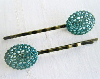 Teal Oval Filigree Patina Antique Bronze Bobby Pins Set of Two/Hair Clips/Bohemian Hair Clips/Shabby Chic Hair Clips/Bobby Pins