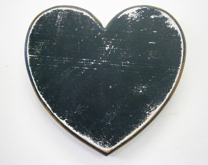Shabby Chic/Rustic - Love/Adore - Wall Art/Black with touches of White Painted Heart with a distressed Shabby Chic/Rustic finish.