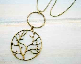 Antique Bronze Necklace with Large Twisted Circle Pendant and Large Tree of Life Round Charm/Boho Necklace/Nature Necklace/Bohemian Jewelry