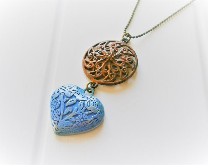 Red Patina Round Filigree and Blue Embossed Patina Heart on Antique Bronze Ball Chain/Boho Necklace/Long Necklace/Patina Necklace/Necklace