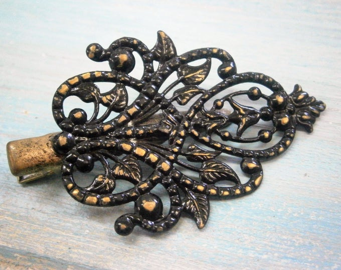 Black Hand Painted Patina Antique Bronze Scroll & Leaf Lace Filigree Shabby Chic Alligator Hair Clip/Boho Hair Clip/Rustic Hair Clip.