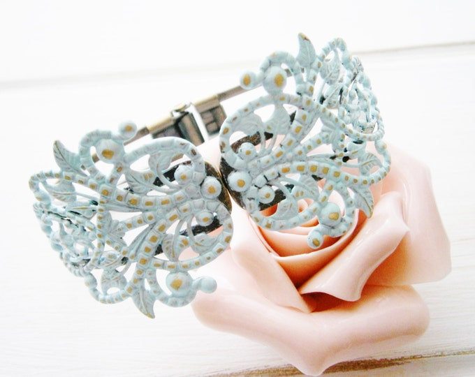 Pale Mint Patina Antique Bronze Filigree Cuff Bracelet/Boho Bracelet/Nature Inspired Bracelet/Bridesmaid Bracelet/Shabby Chic Jewelry