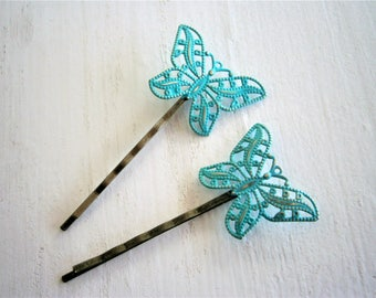Verdigris/Turquoise Patina Filigree Butterfly Antique Bronze Bobby Pins Set of 2/Bohemian Hair Clips/Shabby Chic Hair Clips/Rustic Wedding