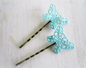 Mint Patina Filigree Butterfly Antique Bronze Bobby Pins Set of Two/Hair Clips/Bohemian Hair Clips/Shabby Chic Hair Clips/Rustic Wedding