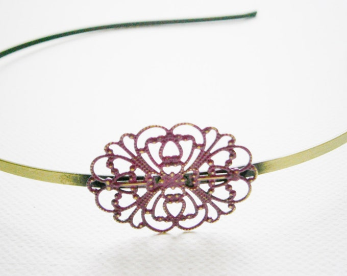 Purple Orchid Patina Filigree Headband - Hair Accessory/Bridesmaid Gift/Family Pictures/Stocking Stuffer/Bohemian/Vintage Style/Shabby Chic