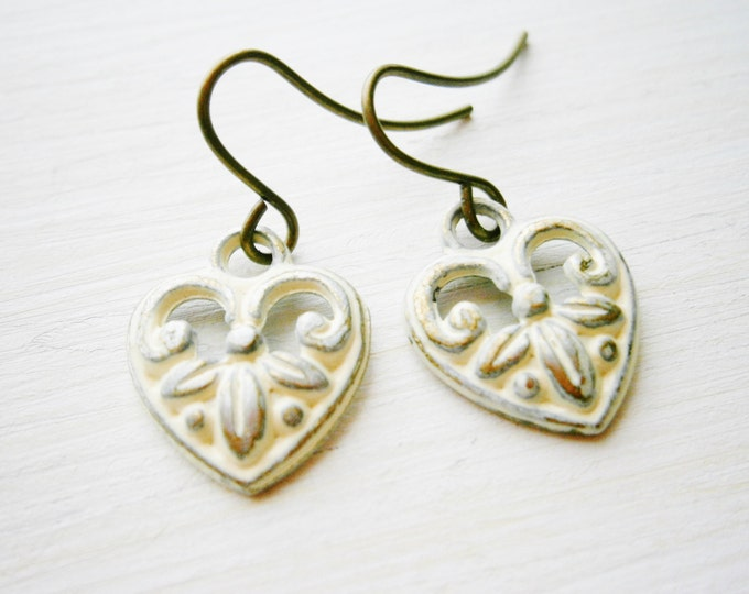 Small Antique White Patina Victorian Style Heart Charm On Antique Bronze French Earring Hooks/Bridal Earrings/Vintage Inspired/Shabby Chic.