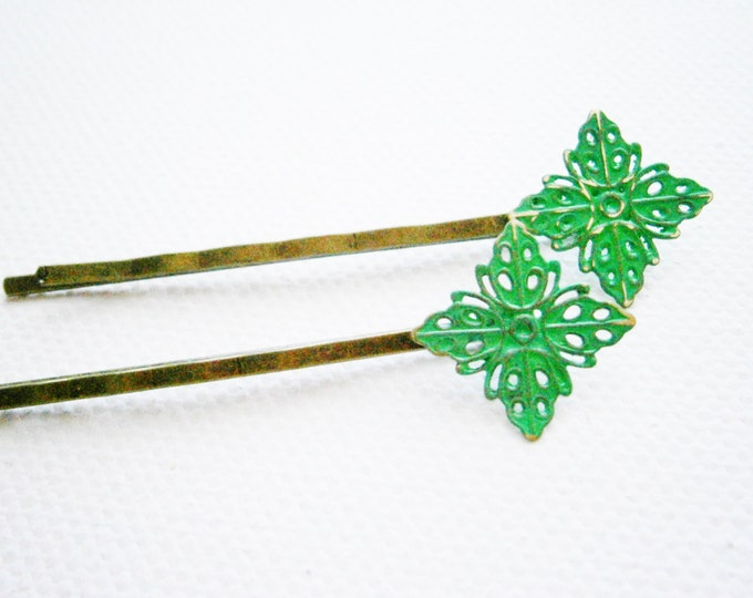 Emerald Filigree Patina Antique Bronze Bobby Pins Set of Two/Hair Clips/Bohemian Hair Clips/Shabby Chic Hair Clips/Bobby Pins/Vintage Style