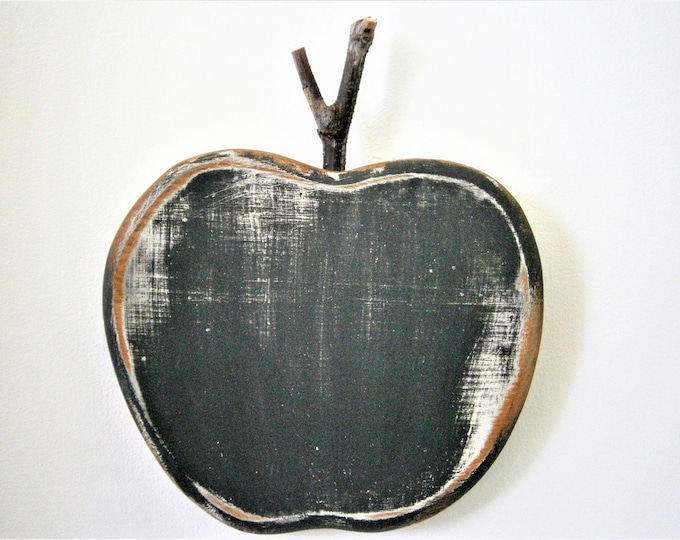 Black Painted Wood Apple -Wall Art/Reclaimed Apple with a Shabby Chic/Rustic distressed finish/Home Decor/Rustic Decor/Shabby Chic.