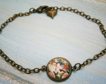 Antique Bronze Glass Dome Bracelet with Asian Style Bird & Fauna Image/Boho Bracelet/Fashion Jewelry/Glass Dome Jewellery/Nature Jewelry