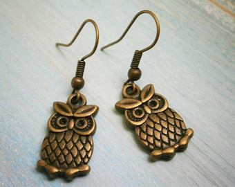 Antique Bronze Owl on Antique Bronze Earring Hooks/Dangle Earrings/Boho Jewelry/Owl Earrings/Bird Earrings/Bohemian Jewelry/Boho Earrings
