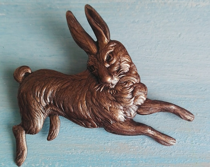 Red Copper Bunny Brooch/Rabbit Pin Brooch/Copper Bunny Pin Brooch/Steampunk Accessories/Boho Fashion Accessory/Animal Lover Brooch/Brooch