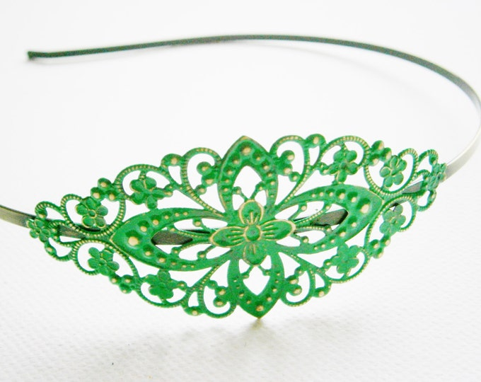 Emerald/Green Patina Filigree Headband - Hair Accessory, Bridesmaid Gift, Family Pictures, Stocking Stuffer