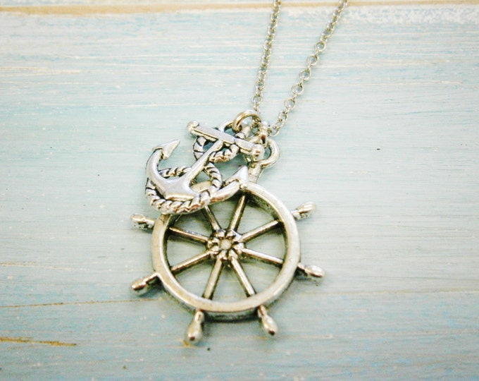 Antique Silver Small Ship Wheel Charm & Mini Anchor Charm/Boho Necklace/Nautical Necklace
