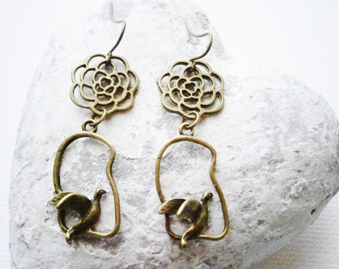 c16011c4e Antique Bronze Filigree Flower and Bird Charm Earring Hooks/Boho Earrings/Nature  Earrings/