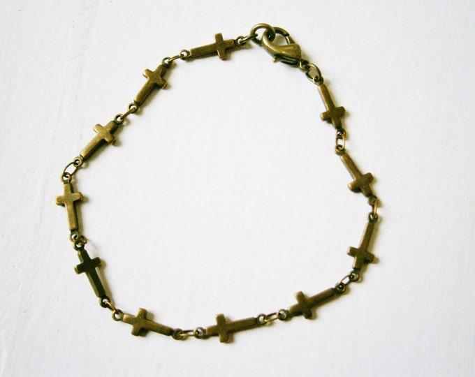 Antique Bronze Cross Chain Bracelet/Boho Bracelet/Cross Jewelry/Boho Jewelry