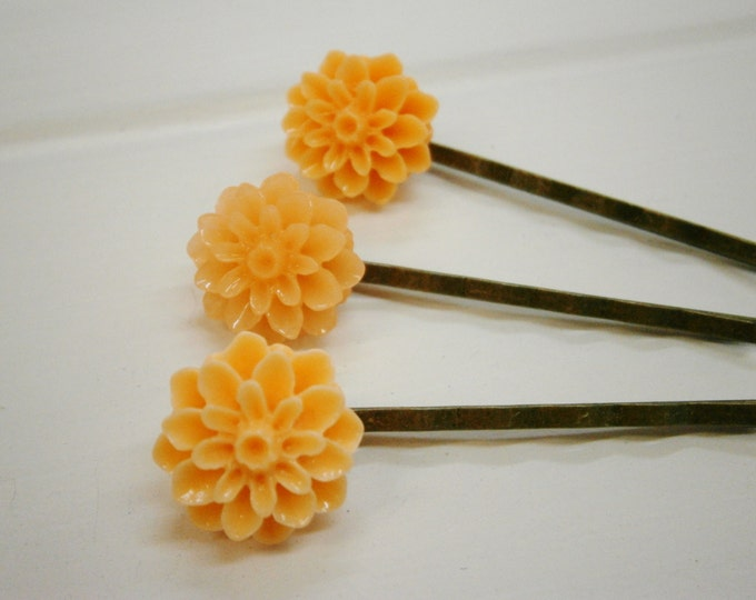 Shades of Apricot - Set of 3 Antique Bronze Hairclips 50mm long with 15mm Resin Chrysanthemum Flowers/Hair Accessories