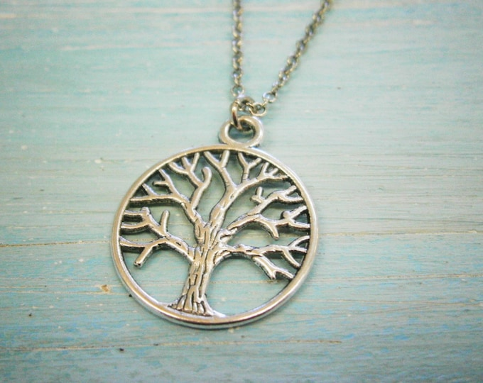 Antique Silver Filigree Small Round Tree of Life Necklace Charm/Boho Necklace/Nature Necklace/Woodland Jewellery/Nature Jewellery
