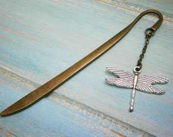 Bookmark with a Antique Silver Dragonfly/Book Lover Bookmark/Dragonfly Lover Bookmark/Dragonfly Bookmark/Bookmarks for Books/Book Lover