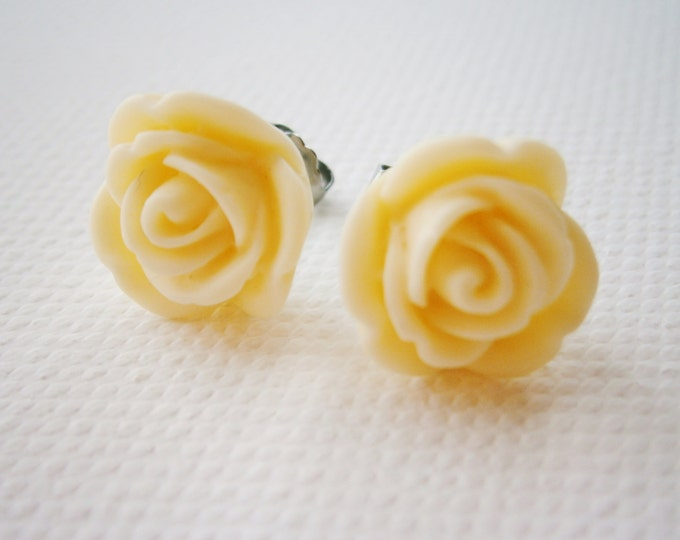 Cream 13mm Resin Rose Flowers set on Stainless Steel Hypo Allergenic Earring Posts/Stud Earrings.