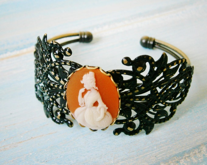 Black Patina Floral Antique Bronze Filigree Cuff Bracelet with Carnelia & White Victorian Lady Cameo/Cameo Cuff/Bridesmaid Bracelet