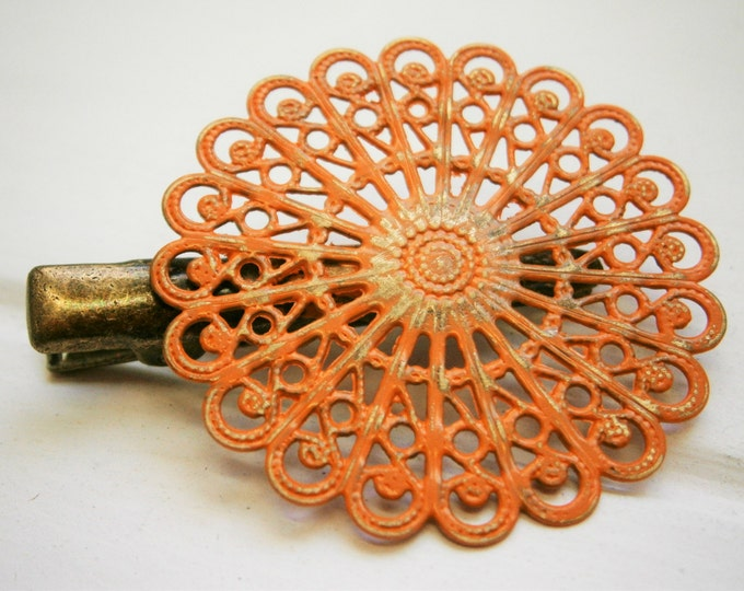 Burnt Orange Hand Painted Patina Antique Bronze Round Filigree Shabby Chic Alligator Hair Clip/Boho Hair Clip/Rustic Hair Clip.