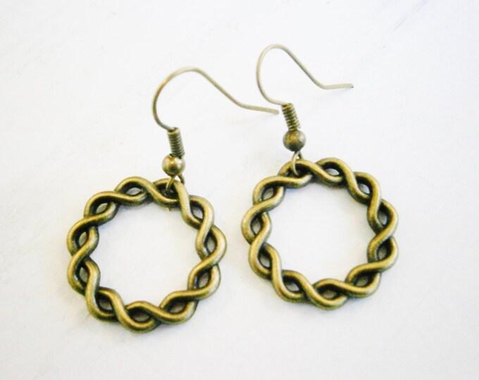 Antique Bronze Twisted Rings on Antique Bronze Earring Hooks/Dangle Earrings/Boho Jewelry