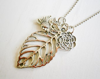 Antique Silver Filigree Leaf Necklace with Filigree Flower and Small Owl Charms/Boho Necklace/Woodland Necklace/Owl Necklace.